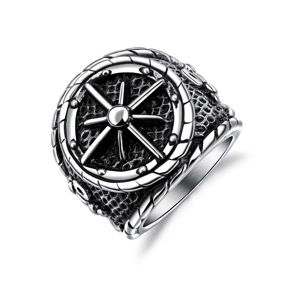 Punk Wide Vintage Men Stainless Steel Biker Ring Jewelry Classic Titanium Male Charm Nautical Compass Hip hop Bicycle Ring