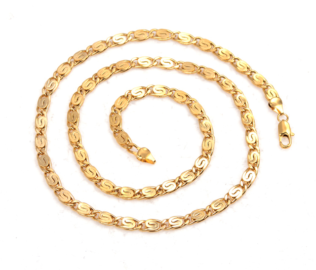 Wholesale Mens Designer Jewelry 60cm Long Gold Color Link Chain