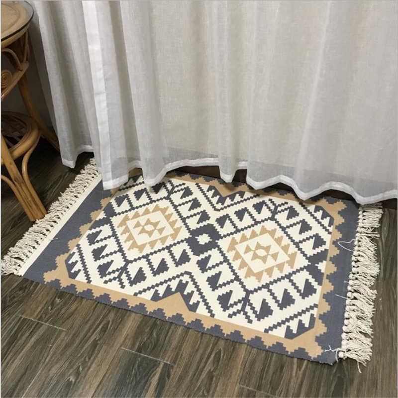 La India estilo borla de algodón suave estera de puerta alfombras para sala de estar dormitorio chico habitación alfombras de piso estera de puerta Simple caliente alfombra