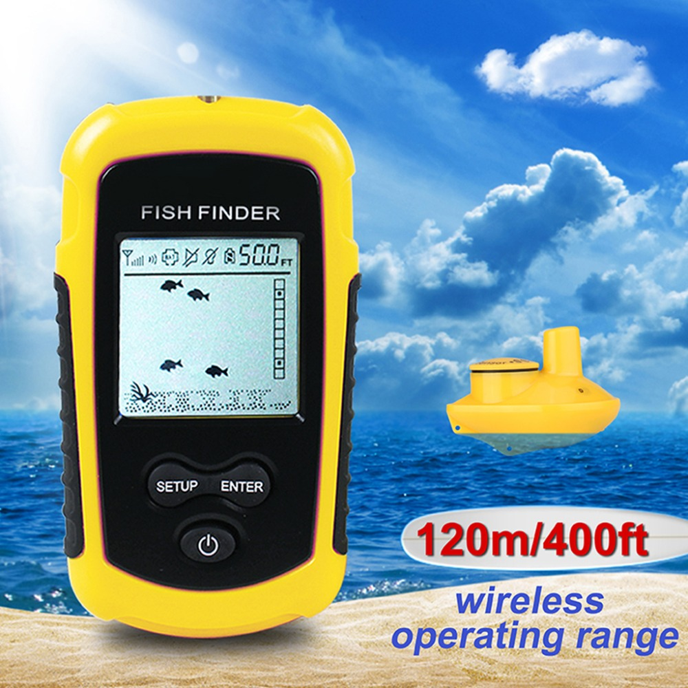 Fish Finder Sonar Fish finder 40m Depth Range Ocean Lake Depth Wireless Sounder Sonar alarm Electronic Fishing Tackle lucky fishing sonar wireless wifi fish finder 50m130ft sea fish detect finder for ios android wi fi fish finder ff916