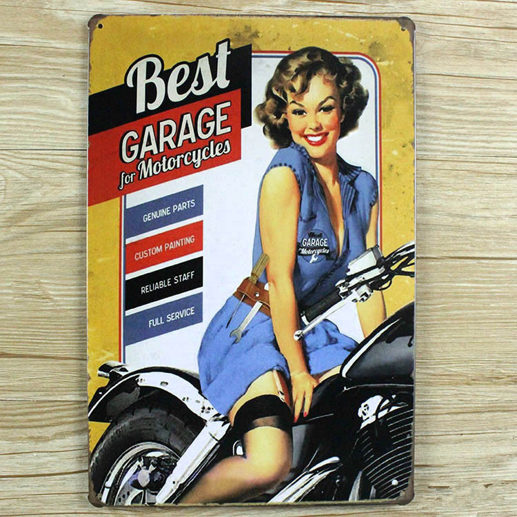 Best GARAGE for MOTORCYCLEVintage Metal signs home decor House Office Restaurant Bar Metal Painting art 20x30 CM ...