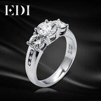 EDI Moissanite Алмазная помолвка белое золото кольцо 14 K 585 Золото 1ct круглый блестящий огонь DEF цвет Moissanite кольцо для женщин