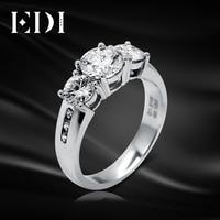 EDI Moissanite Diamond Engagement White Gold Ring 14K 585 Gold 1ct Round Brilliant Fire DEF Color Moissanite Ring For Women