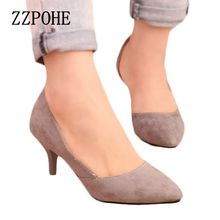 Spring new arrival women heel shoes, velvet thin heels pointed toe single shoes ,shallow mouth sexy women shoes