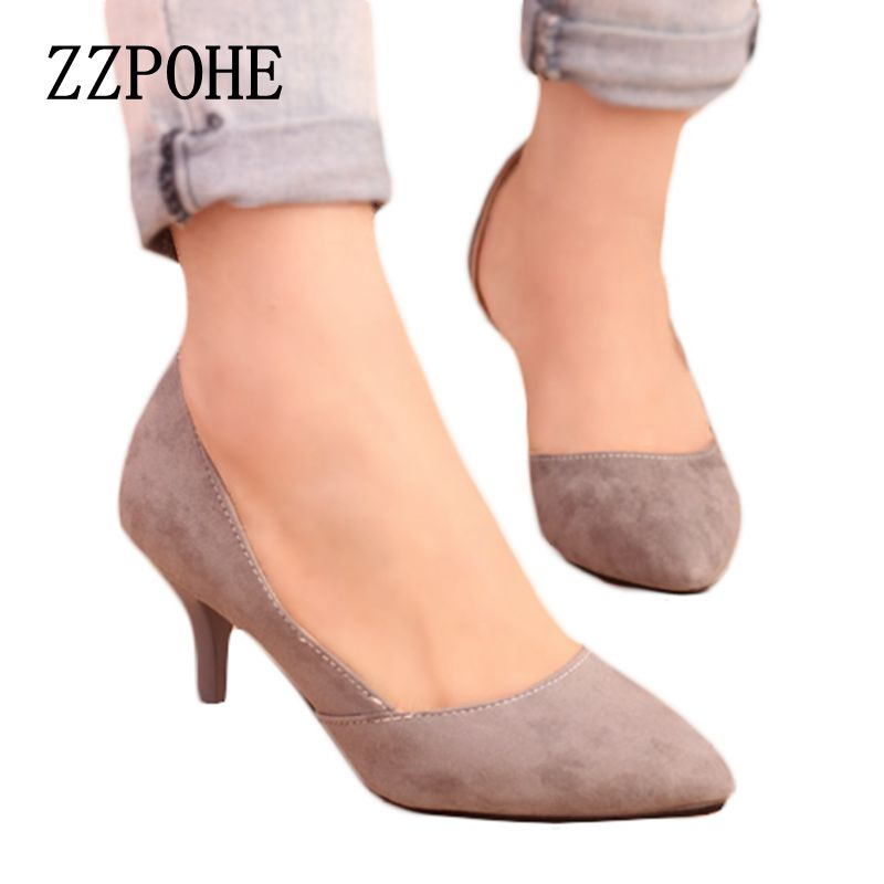 ZZPOHE Spring new arrival women heel shoes velvet thin heels pointed toe Ladies single shoes shallow mouth sexy women shoes genuine large size single toe head high heels shallow mouth thin heel velvet shoes woman star with w824