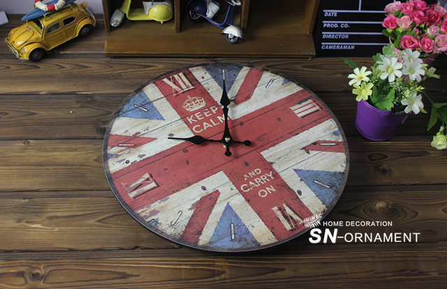 Europe United States Retro Wall Clock National Flag Coloured drawing or pattern Wood Electronic Clocks