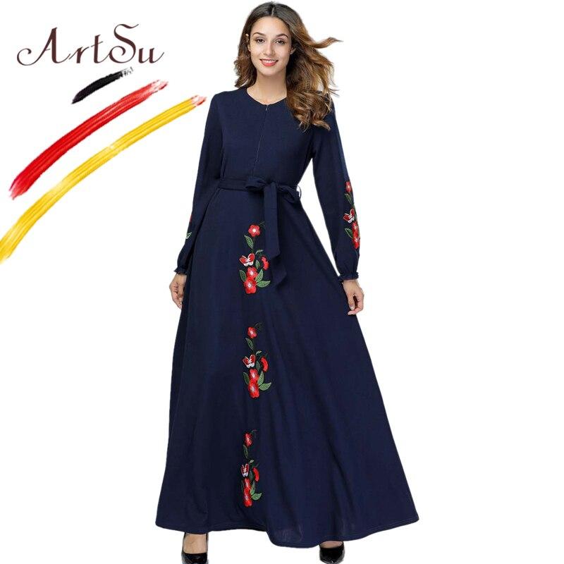 ArtSu 2019 printemps femmes o-cou à manches longues décontracté Robe noire grande taille bleu marine Floral broderie Maxi Robe hiver Robe Femme