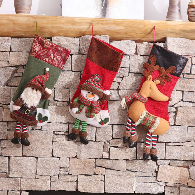 Christmas Stocking Decors Hanging Ornaments Santa Claus Snowman Bags Hanging On Tree Closet Clothes Home Supplies Tree Pendant