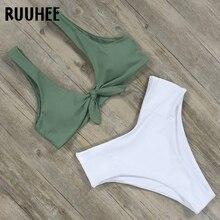 RUUHEE Bikini Brand Swimwear Women Swimsuit Front Knot Bathing Suit Push Up Bikini Set 2018 High Cut Sexy Beach Wear Biquini