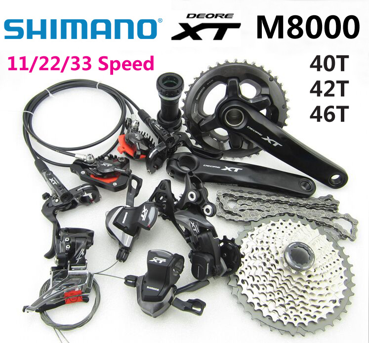 SHIMANO DEORE XT M8000 Groupset 165/170/175mm Crankset Mountain MTB Bike Bicycle grupo 11/22/33 Speed Derailleur 40T 42T 46T shimano deore xt 22 speed mountain bicycle crank set fc m8000 b2 175mm 34 24t