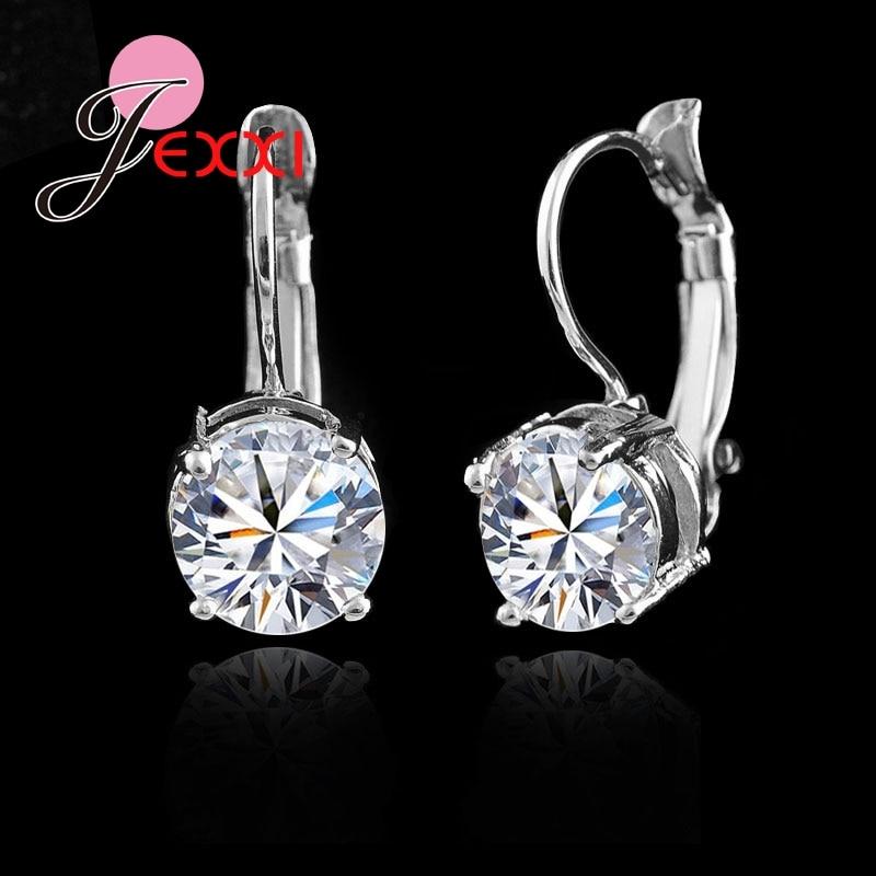 Venda quente 925 sterling sliver moda jóias brilhando micro cristal claro clipe de prata brincos para festa feminina preço de fábrica