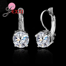 Hot Sale 925 Sterling Sliver Fashion Jewelry Shining Micro Clear Crystal Silver Clip Earrings For Women Party Factory Price(China)