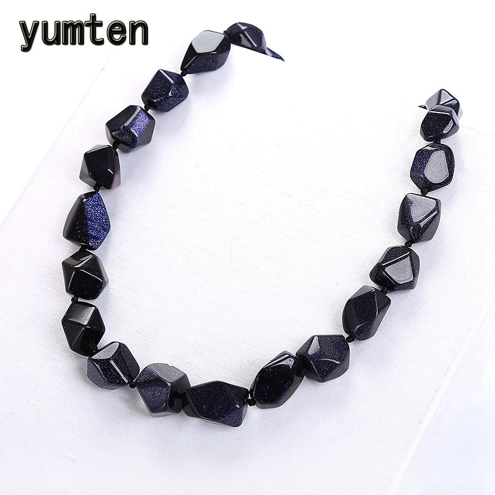 Yumten Blue Sandstone Necklace Women Cabochons Irregular Original Stone Pumice Vintage Fashion Crystal Classic Exquisite JewelryYumten Blue Sandstone Necklace Women Cabochons Irregular Original Stone Pumice Vintage Fashion Crystal Classic Exquisite Jewelry