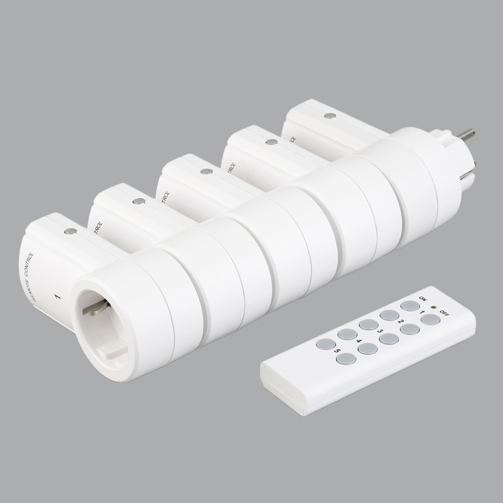 5 <font><b>Wireless</b></font> <font><b>Remote</b></font> Control Switches <font><b>Socket</b></font> Power Outlets Electrical Plugs Adaptors with <font><b>Remote</b></font> Control EU Plug White image