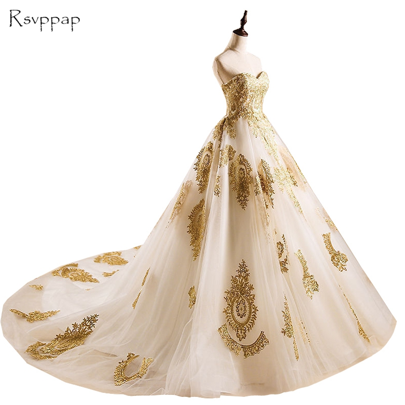Long Evening Dress 2018 New Arrival Sweetheart Puffy Ball Gown Gold ...