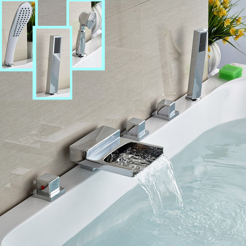 Chrome Brass Widespread Waterfall Bathtub Faucet Set Three Handles Bathroom Bath Tub Mixer Filler with Handshower luxury widespread deck mount waterfall bathtub mixer faucet three handles bath tub filler chrome finish