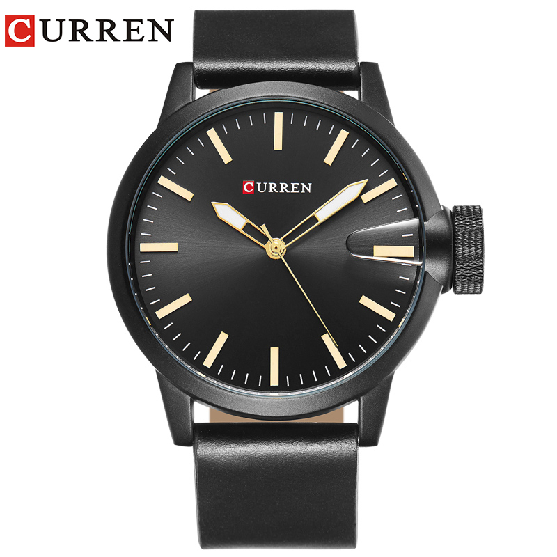 CURREN luxus top brand new fashion schwarz quarz herrenuhr lederband montre homme Handgelenk Sport Militär Armee Relogio 8208