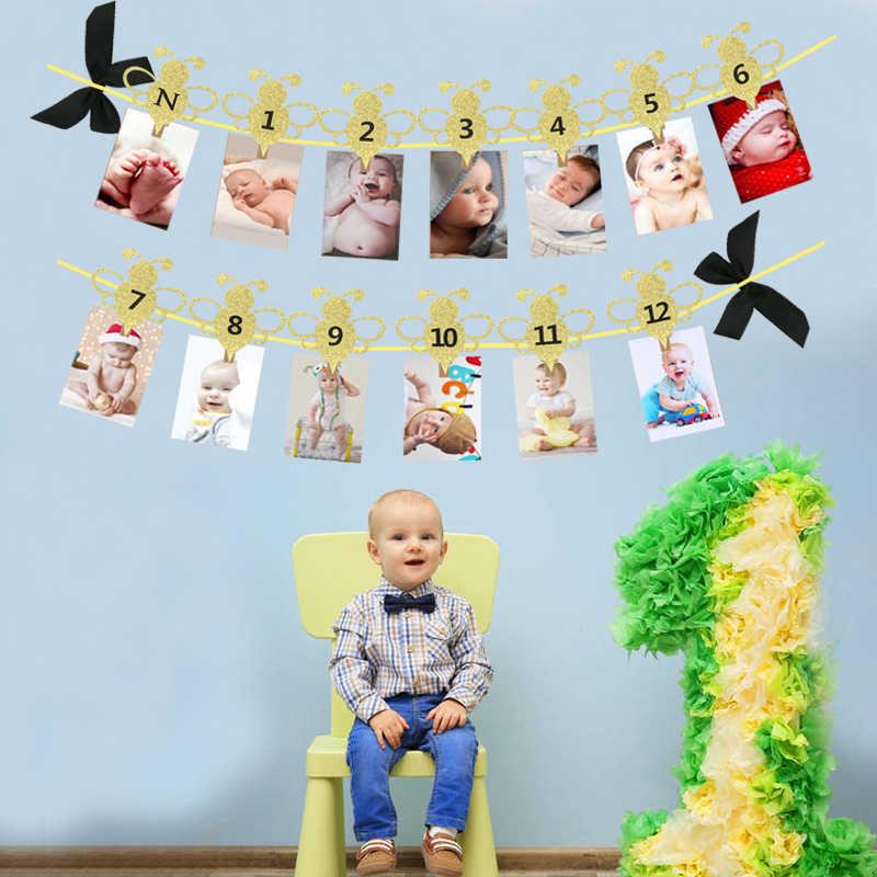 Chicinlife Bee Series 12 Bulan Foto Banner Cupcake Toppers Photo Booth Alat Peraga Confetti Balon 1st Perlengkapan Pesta Ulang Tahun