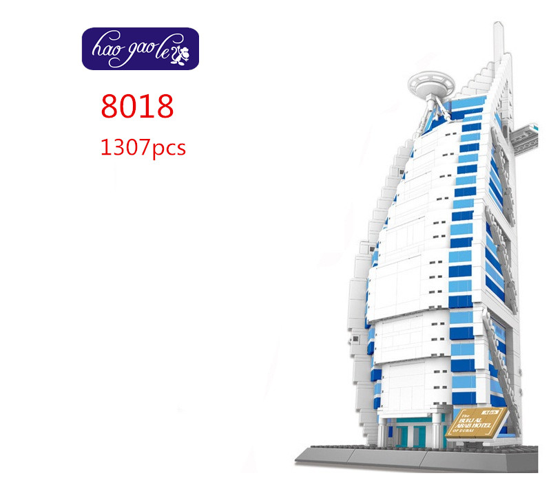 Wange the Burj Al Arab hotel of dubal Building Block Sets 1307pcs Educational Jigsaw DIY Enlighten Brick Toy For Children 8018 конструктор enlighten brick the war of glory 2315 casle silver hawk 656 дет 243959