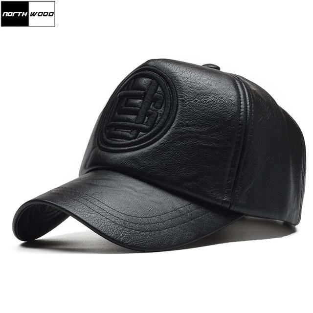 NORTHWOOD  alta calidad Pu cuero de gorra de béisbol hombres invierno  Snapback sombrero Gorras 9fa21f6839f