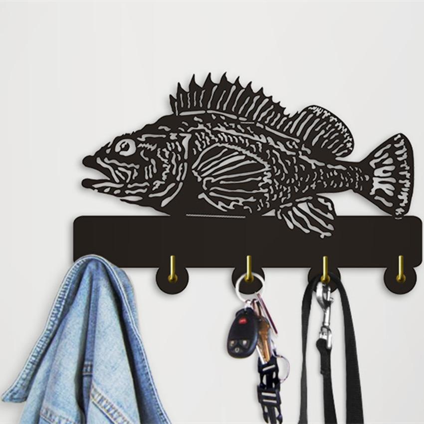 1piece Rock Fish Decorative Wall Hooks Sea Animal Hanger