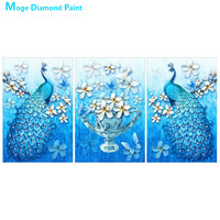 Animal Peacock vase Triple Diamond Painting Full Round abstract Oil painting style New DIY Sticking Drill Cross Embroidery 5D