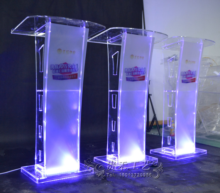 Modern Acrylic Smart Podium Plexiglass Pulpit School Church Lectern with LED Light fixture displays clear acrylic plexiglass podium curved aluminum sides pulpit lectern