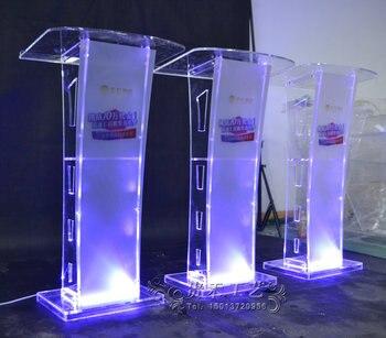 Speciale Aanbieding Moderne Acryl Slimme Podium Plexiglas Preekstoel School Kerk Lessenaar met LED Licht