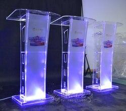 Spezielle Bieten Moderne Acryl Smart Podium Plexiglas Kanzel Schule Kirche Rednerpult mit LED Licht