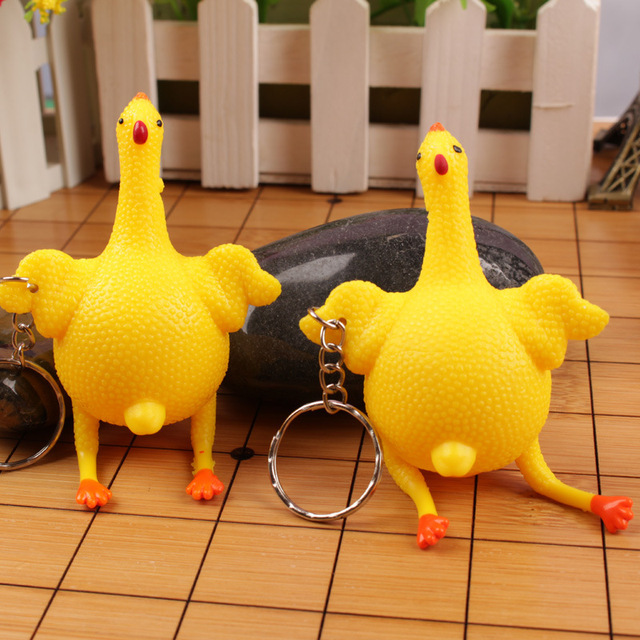 Hens Chicken Laying Egg Keychains Sticky Venting Prank Mischievous Spoofing Mood Squeeze Relief Tricky Funny Gift Key Chain