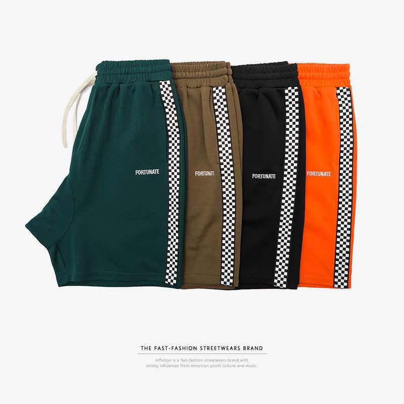 INFLAÇÃO Dos Homens Sportswear Calções Lado Tarja Calções Calções Impressão Carta Highstreet Homens Streetwear Do Vintage da Cor do Contraste
