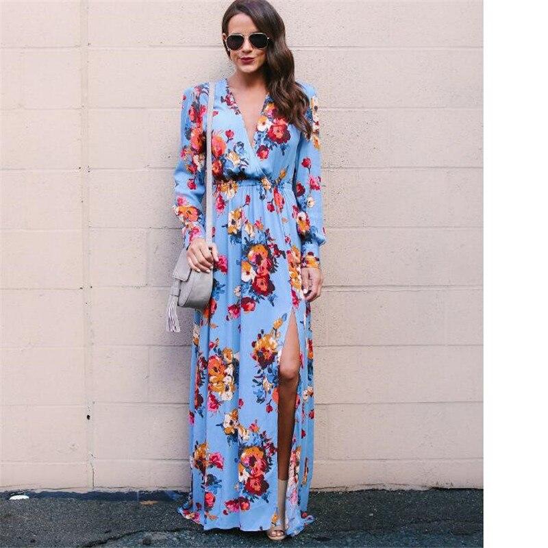 New Arrival 2018 Spring Women Long Sleeve Maxi Dresses Fashion Casual Floral Print Split Ends Long Dress Ladies V-Neck Dress