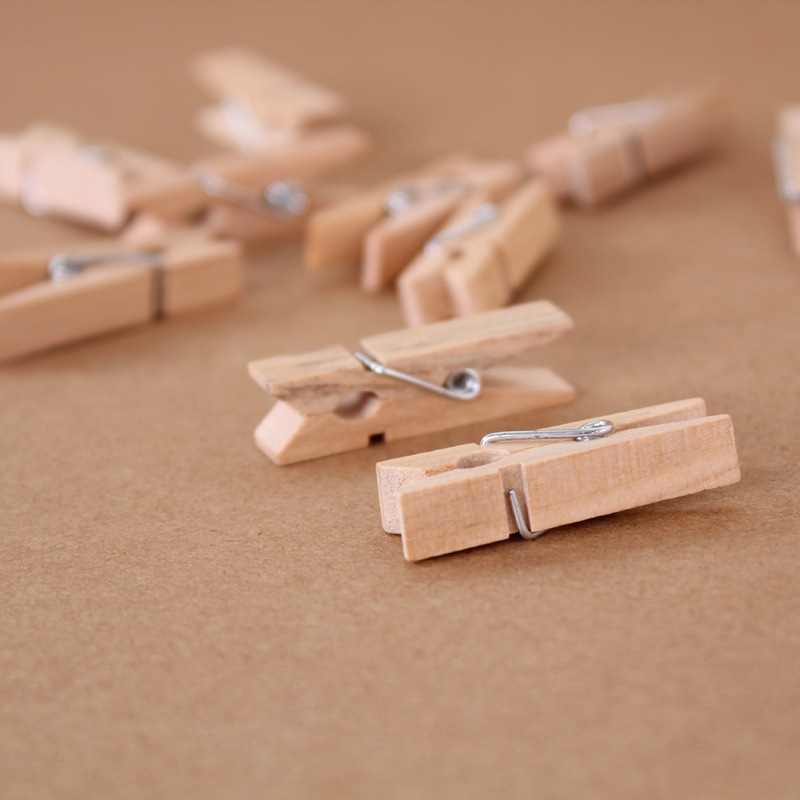 50pcs/pack 3.5cm Wood Clip Office Binding Supplies Wooden Clamps For Wedding Party