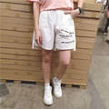 Harajuku 2017 Hot New Summer Fashion Embroidery Shorts Short Wide Leg Trousers Casual Style Short Pants For Ladies