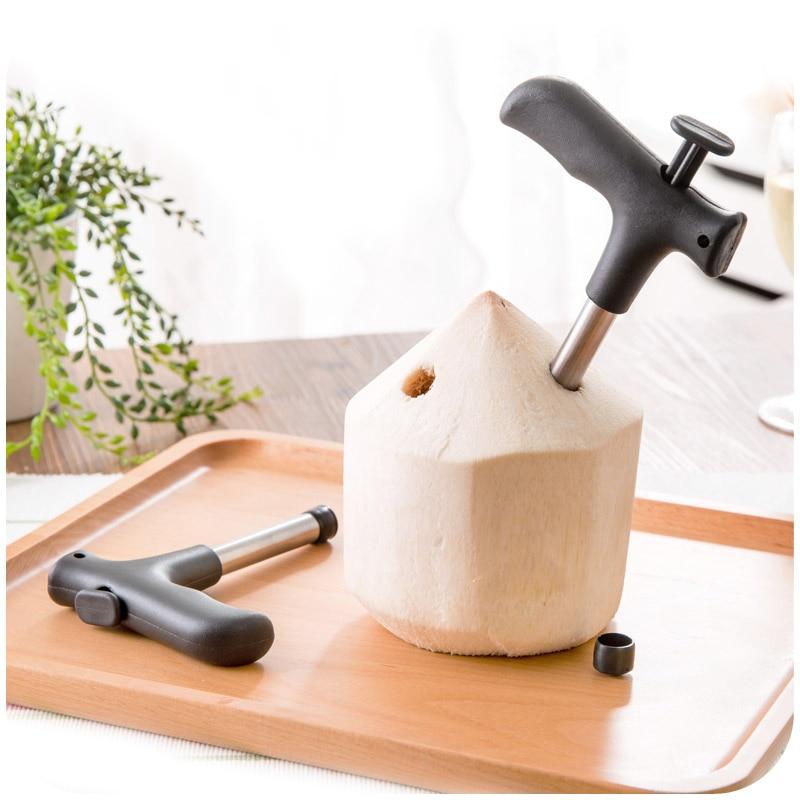 unid barato de acero inoxidable durable herramienta de coco coco abridor de apertura perforador de