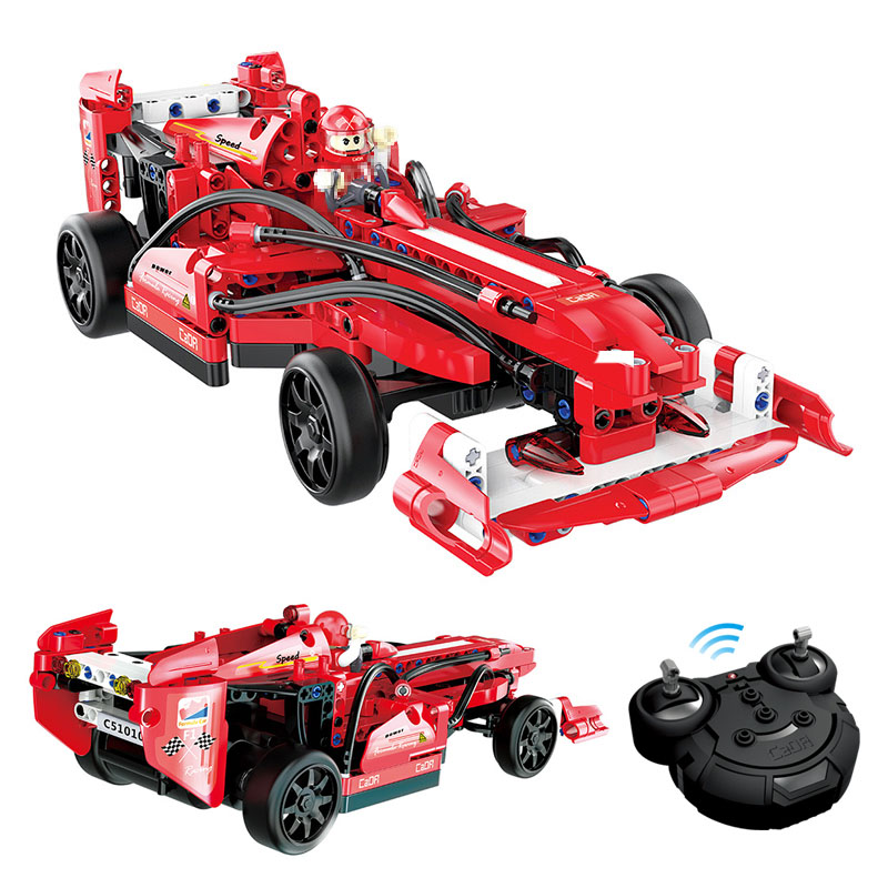 Children Block Toys Simulation F1 Racing Remote control Car Assembled Blocks Toys Gift 2 IN 1 Building Blocks Red Car Model gudi city police truck car blocks toys assembled model building kits blocks toys christmas gift toys for children boys 9306