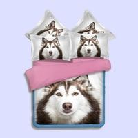 3pcs/set 3D Loving Animal Cute Dog Printed Coverlet Set Duvet Cover Pillowcase Bedding Set for Children Adults Room Decoration