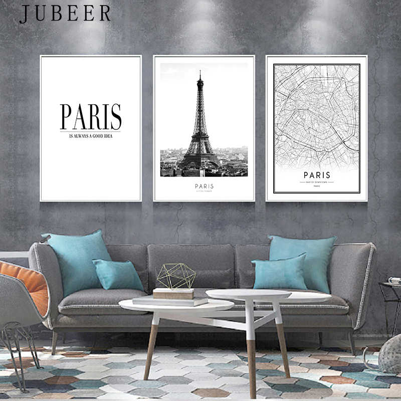 Modern New York London Paris City Map Wall Art Picture For Living Room Black and White Posters and Prints Home Decor