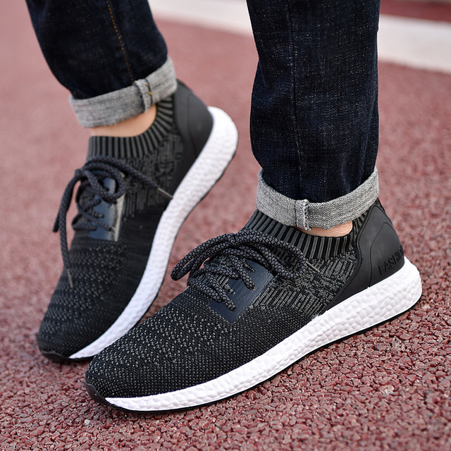 67d62e7f5166 Hot 2018 Spring Summer Men Casual Shoes British Fashion Style Knitted  Fabric Breathable Male Shoes Men Lace-Up Daily Light Shoes