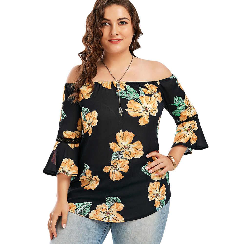 Wisalo плюс размер 5XL Цветочный шифон с открытыми плечами Гавайская Блузка Лето 2018 Blusas сексуальное, рукав-фонарик Boho пляжные топы, блузка
