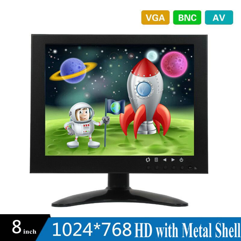 10 PCS 8 Inch HD CCTV TFT-LED Monitor with Metal Shell & VGA AV BNC Connector for PC & Multimedia & Donitor Display & Microscope 8 inch lcd monitor color screen bnc tv av vga hd remote control for pc cctv computer game security