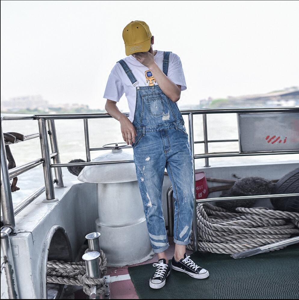 Sommer Neue Hosenträger Mode Flut Loch Jeans Hosen Denim Overall Für Männer Bib Hosen Sängerin Overalls Bühnenkostüme