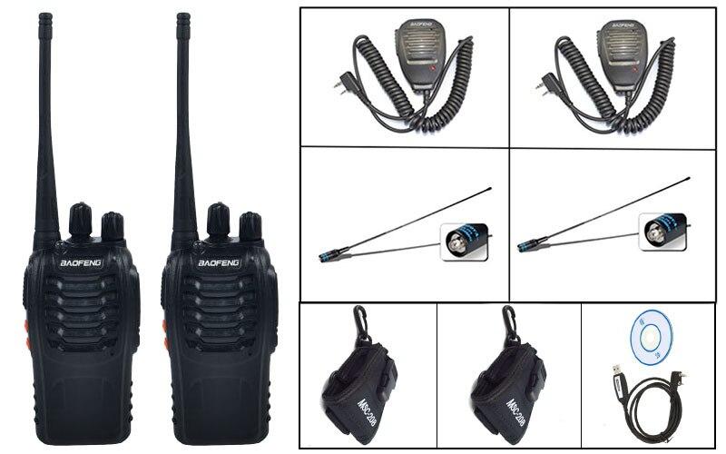 2 pièces noir BaoFeng BF-888S WalkieTalkie avec 2-p NA 771-F antennes + câble de programmation 1-p + 2-p baofeng mic + 2-p 20B case