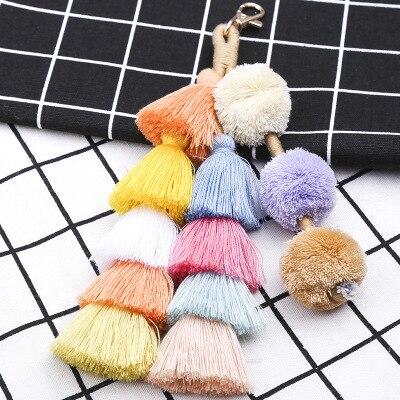 2018 Fashion Pompon Key Cute Women Leaf Bag Lovely Tassel Pendant For Wallet Bags Parts Accessories Handbag 4 Styles