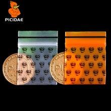Миниатюрный мини-пакет с оранжевым черепом и застежкой-молнией, пластиковая упаковочная сумка для пищевых конфет, ювелирное изделие, легко закрывающееся толстое полиэтиленовое покрытие, маленькая посылка