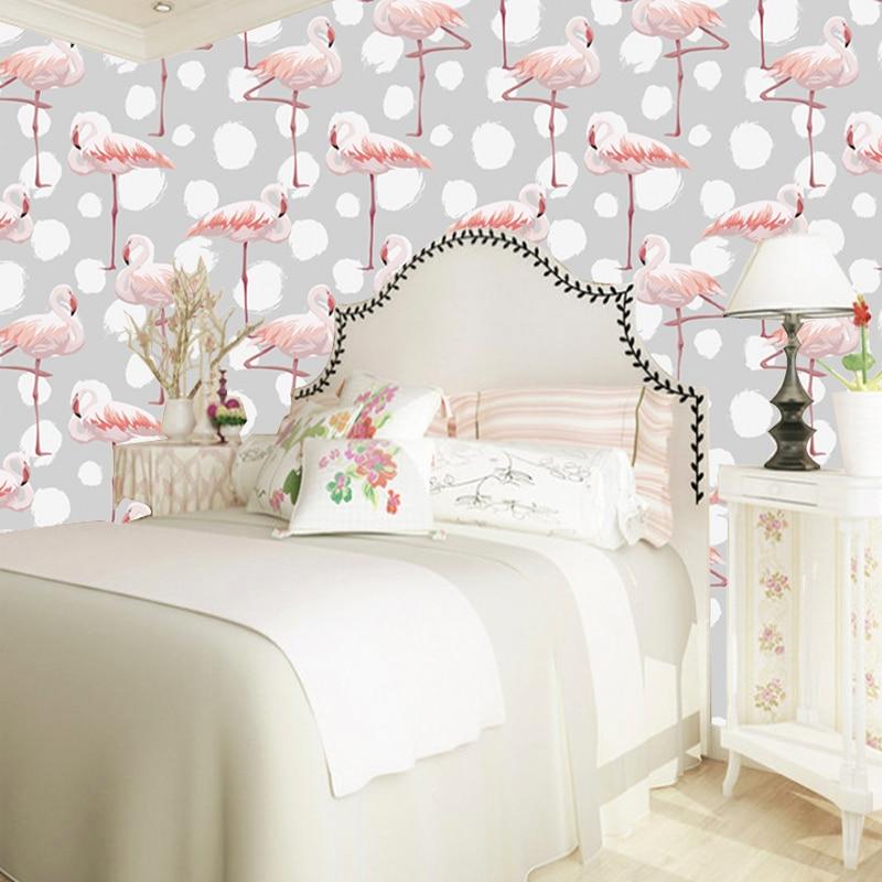 US $15.95 43% di SCONTO|Camera da letto carta da parati grigio caldo ed  elegante fenicottero decorazione murale carta da parati per camera della ...