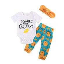 Для маленьких девочек короткий рукав комбинезон, штаны Банданы для мужчин 3 шт. наряды Костюмы Комплект Детская Одежда для новорожденных девочек Наборы для ухода за кожей