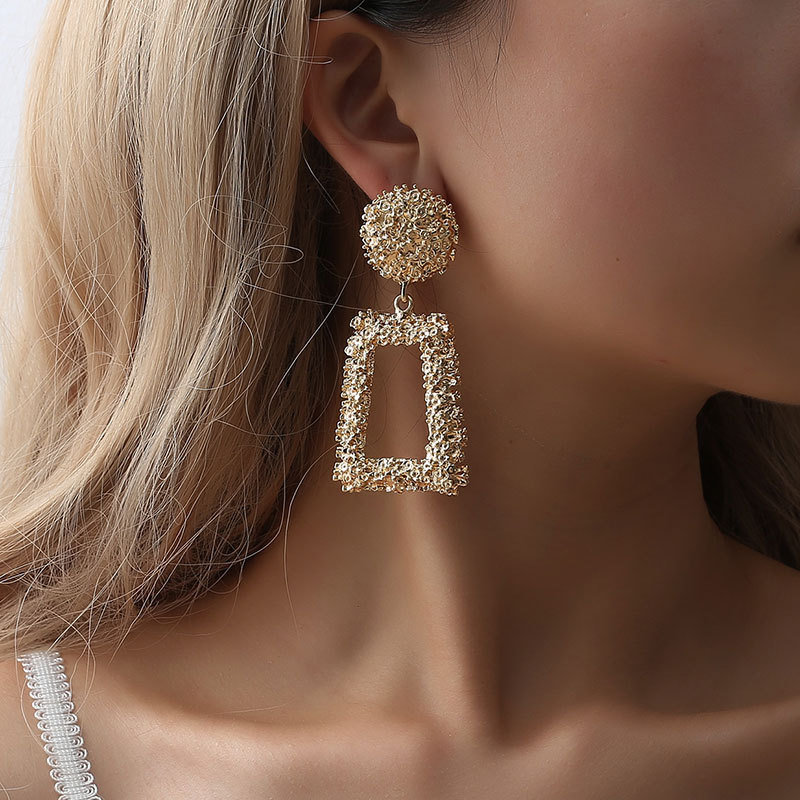 2019 new Big Vintage Earrings for women gold color Geometric statement earring metal earing Hanging fashion jewelry trend in Drop Earrings from Jewelry Accessories