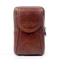 Gold coral Genuine Leather Waist Bag Men's Travel Fanny Pack Belt Loops Hip Bum Bag Wallet Purses Mobile Phone Pouch #209-L