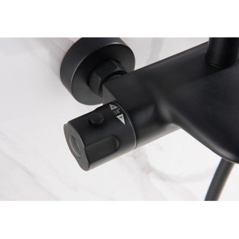 Ensemble de robinet de bain et de douche thermostatique brossé à l'huile noire pour salle de bain - 5
